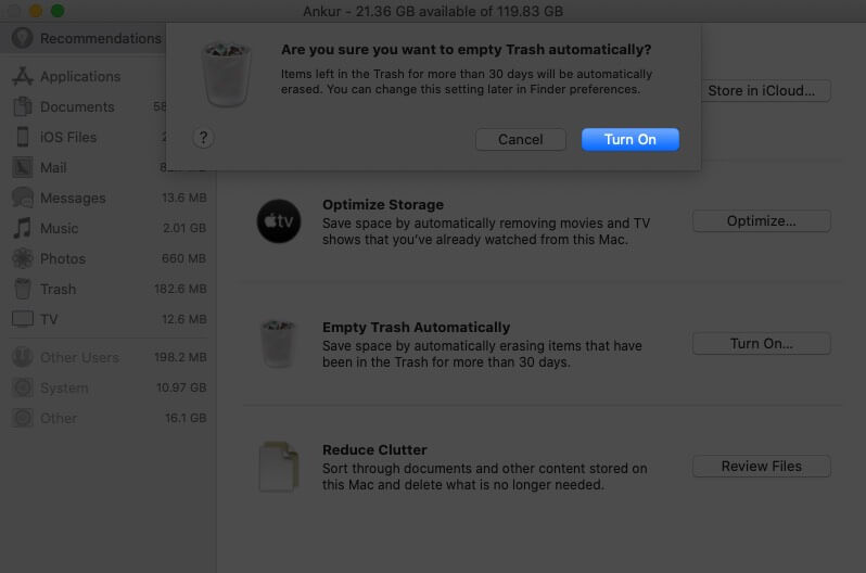 Click on Turn on to Enable Empty Trash Automatically