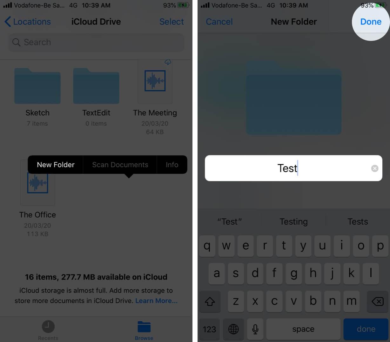 Create New Folders on Files App on iPhone