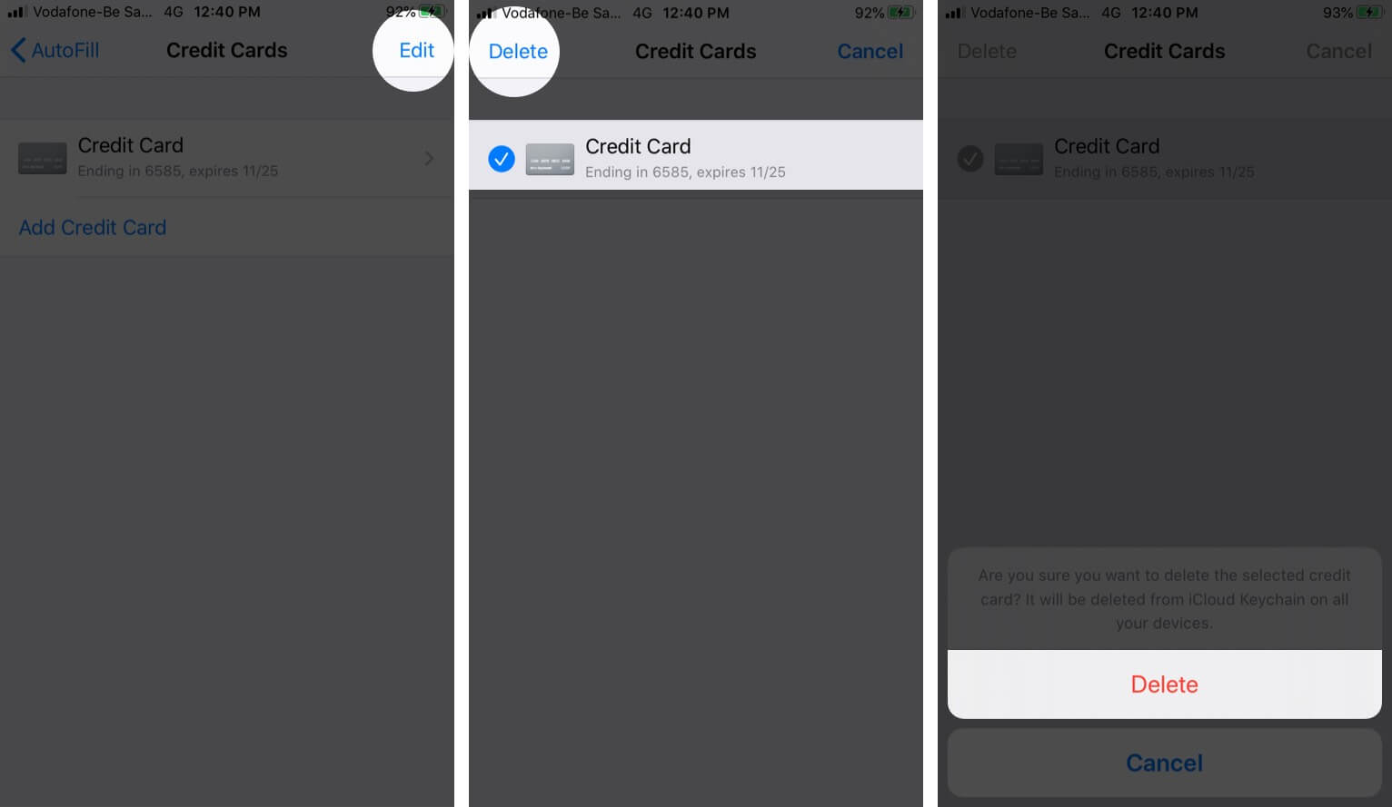 Delete Credit Card Details from iCloud Keychain on iPhone