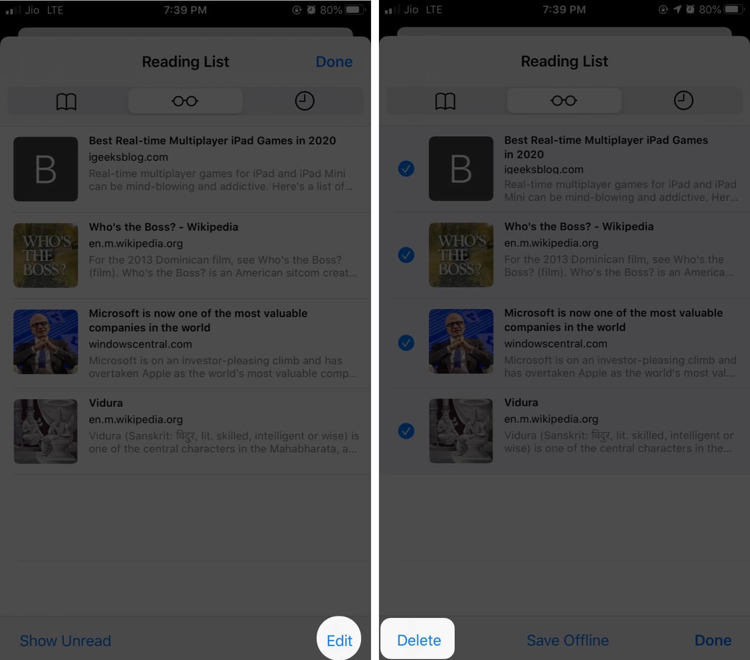 Delete Safari Reading List on iPhone and iPad