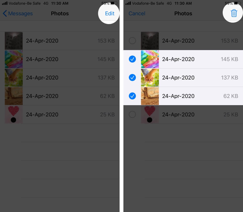 Delete iMessages Photos and Attachments from Settings App on iPhone