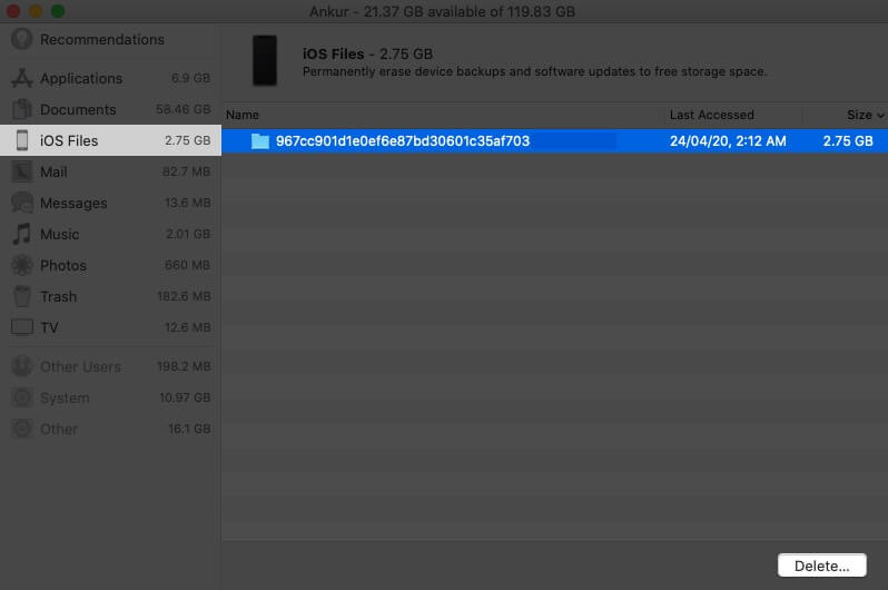 Delete iOS Backup from Storage on Mac