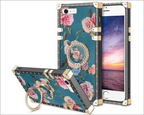 HoneyAKE Floral Ring Holder Case for iPhone SE 2020
