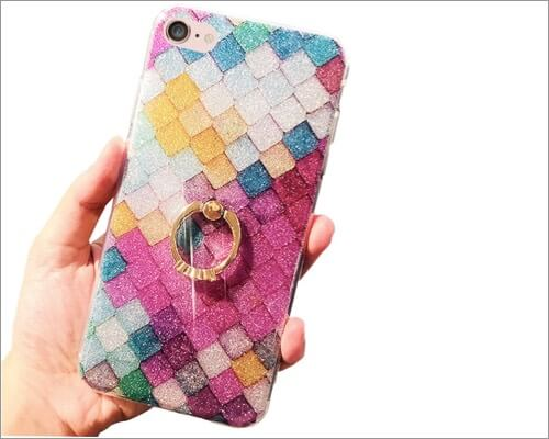 J.west Glitter Slim Bumper Ring Holder Case for iPhone SE 2020