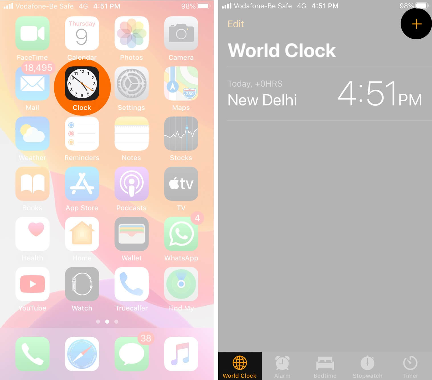 Open Clock App and Tap on Plus on iPhone