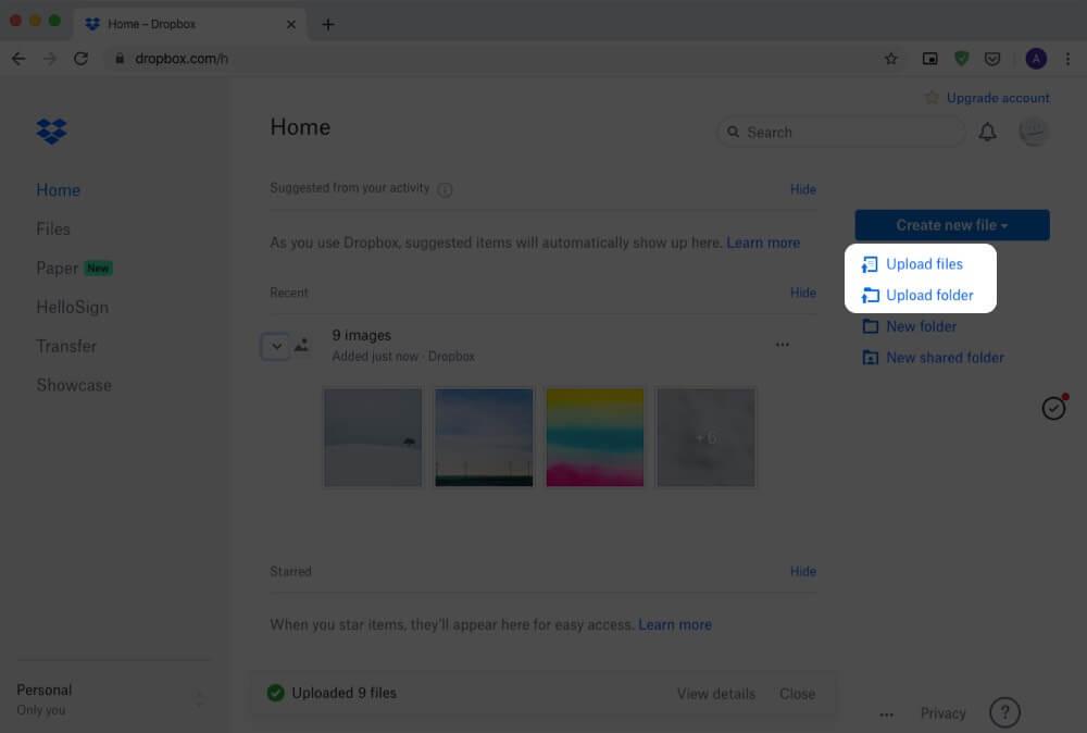 Open Dropbox Website and Click on Upload File or Upload Folder