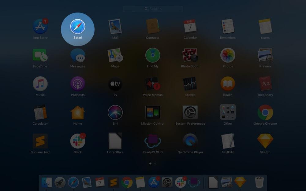 Open Safari App on Mac