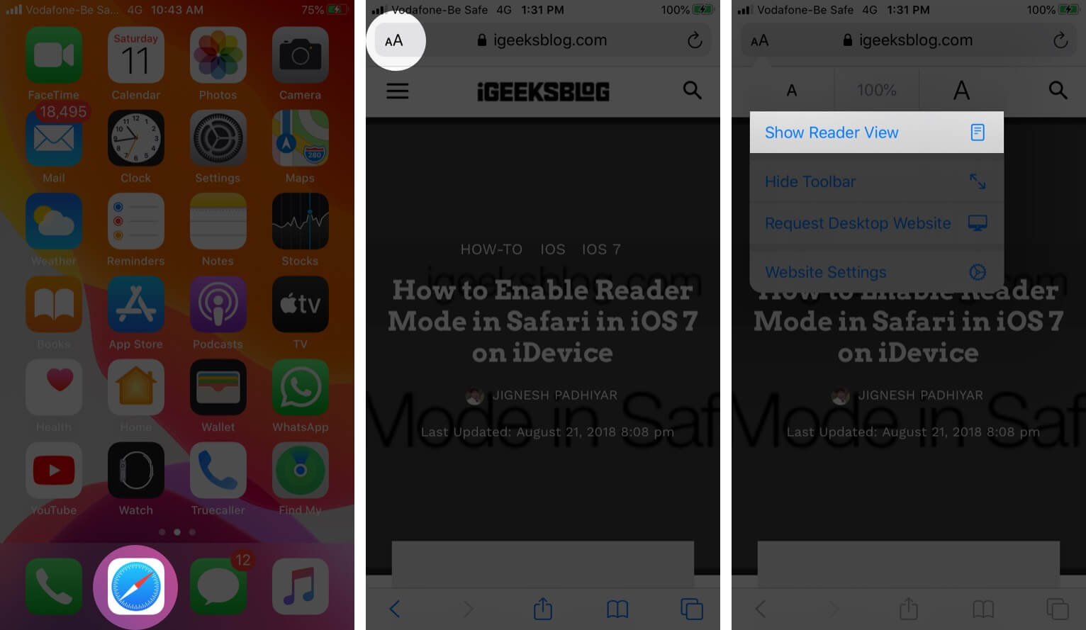 Open Safari Tap on AA and Then Tap on Show Reader View