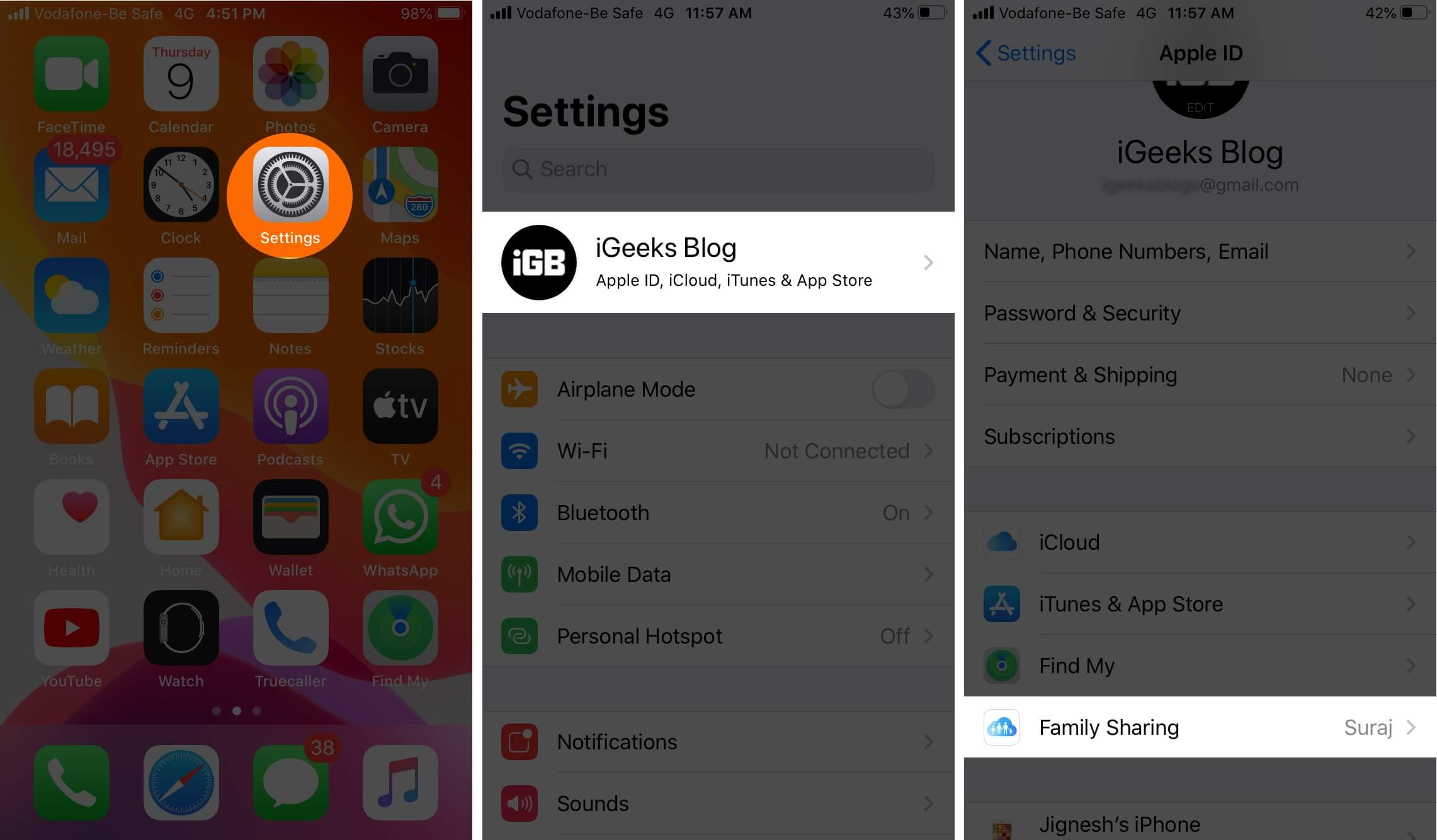 Open Settings Tap on Profile and Then Tap on Family Sharing