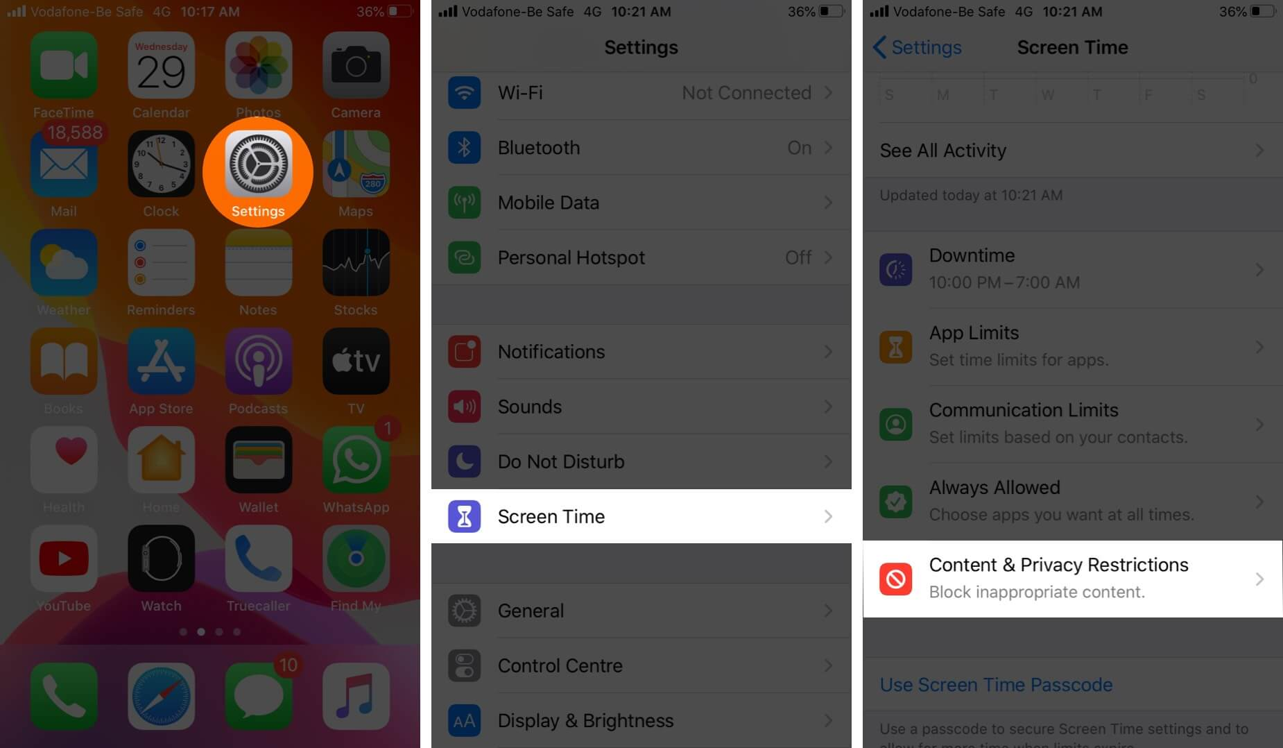 Open Settings Tap on Screen Time and Then Tap on Content & Privacy Restrictions