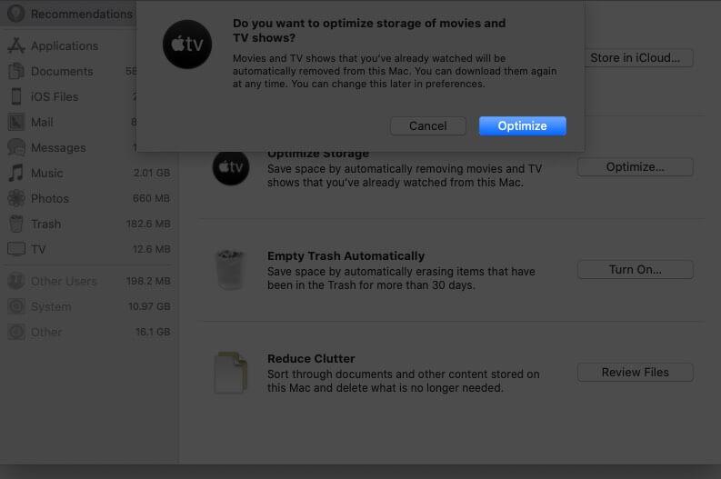 Optimize Storage Automatically on Mac