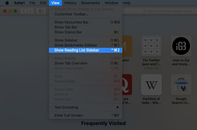 Select View and Click on Show Reading List Sidebar in Safari on Mac