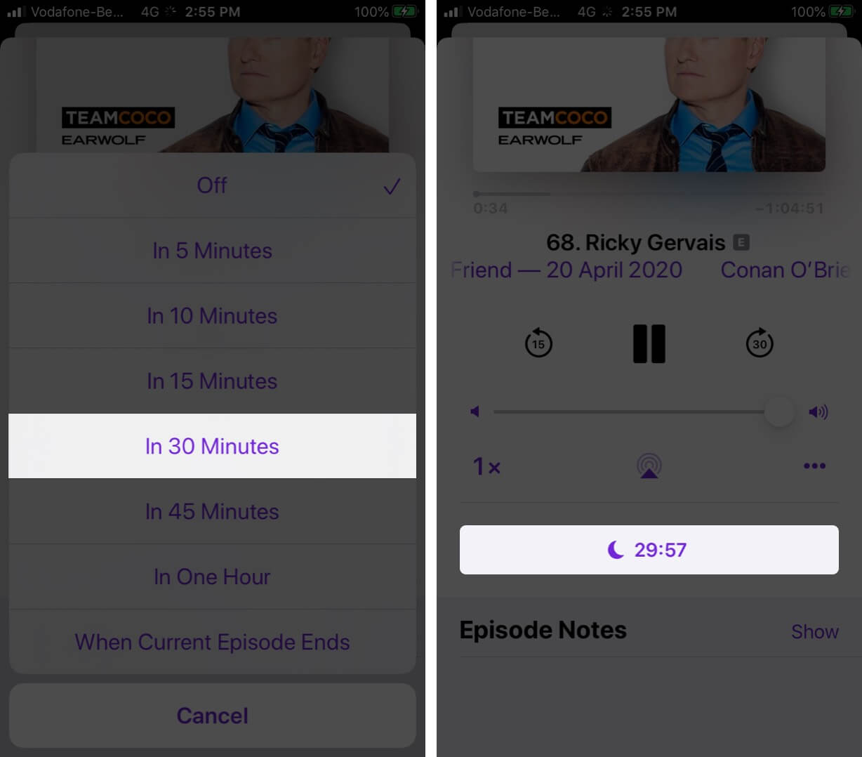 Set Sleep TImer on Podcasts App on iPhone
