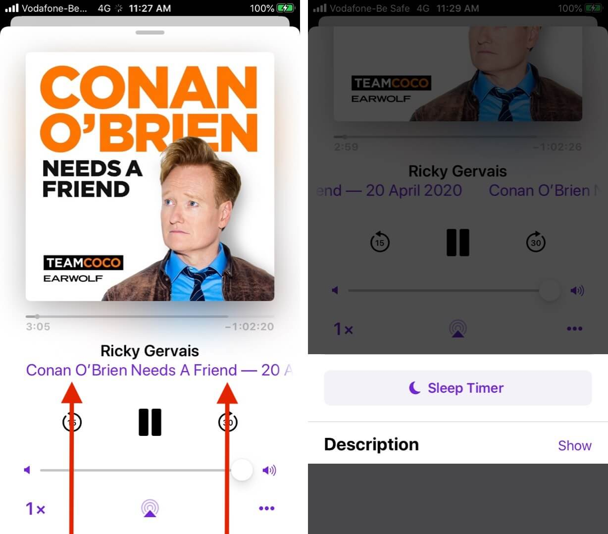 Swipe Up to Manage Sleep Timer and Description in Podcasts Episode on iPhone