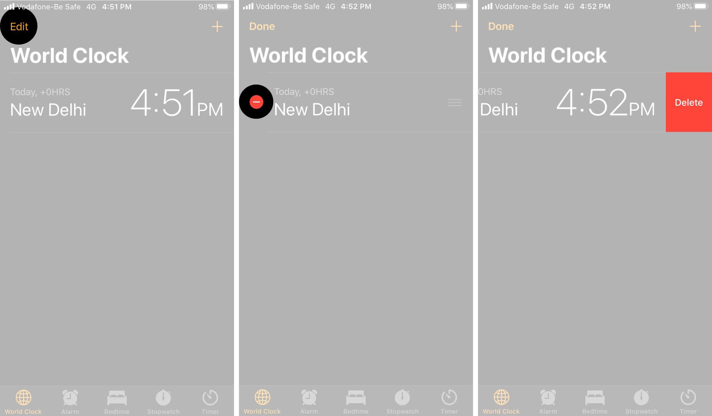 Tap on Delete to Remove World Clock on iPhone