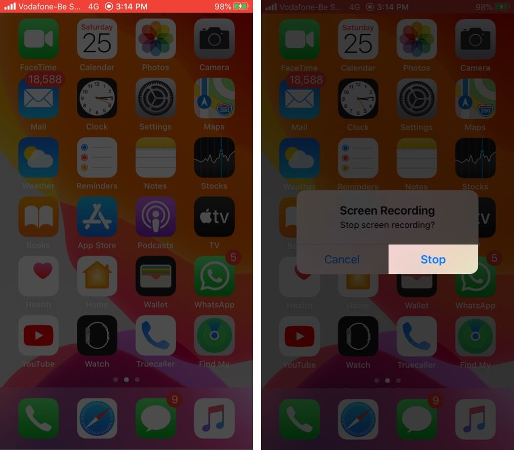 Tap on Stop and Save FaceTime Call Recording on iPhone