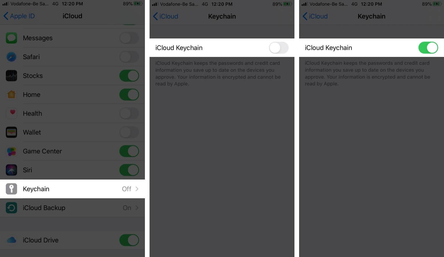 Turn ON iCloud Keychain in iOS 13 on iPhone
