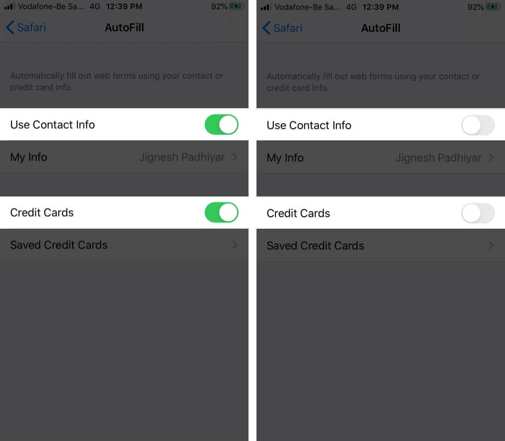 Turn Off Use Contact Info and Credit Cards in iCloud Keychain