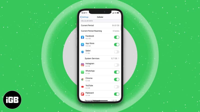 Turn off cellular data for specific apps on iPhone