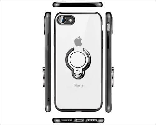 ZHIYIJIA Bumper Clear Ring Holder Case for iPhone SE 2020