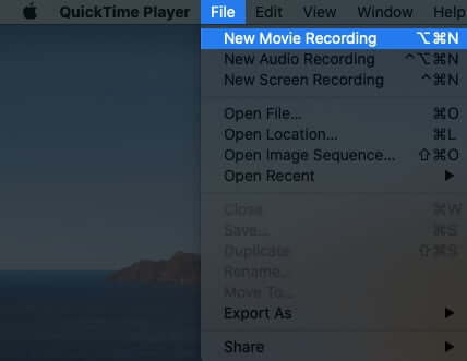 Click on File from QuickTime Menubar and Then Click on New Movie Recording
