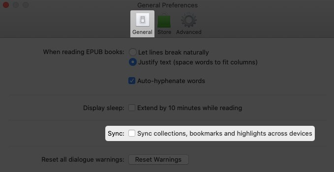 Click on General Tab and Disable Sync in Books Preferences on Mac