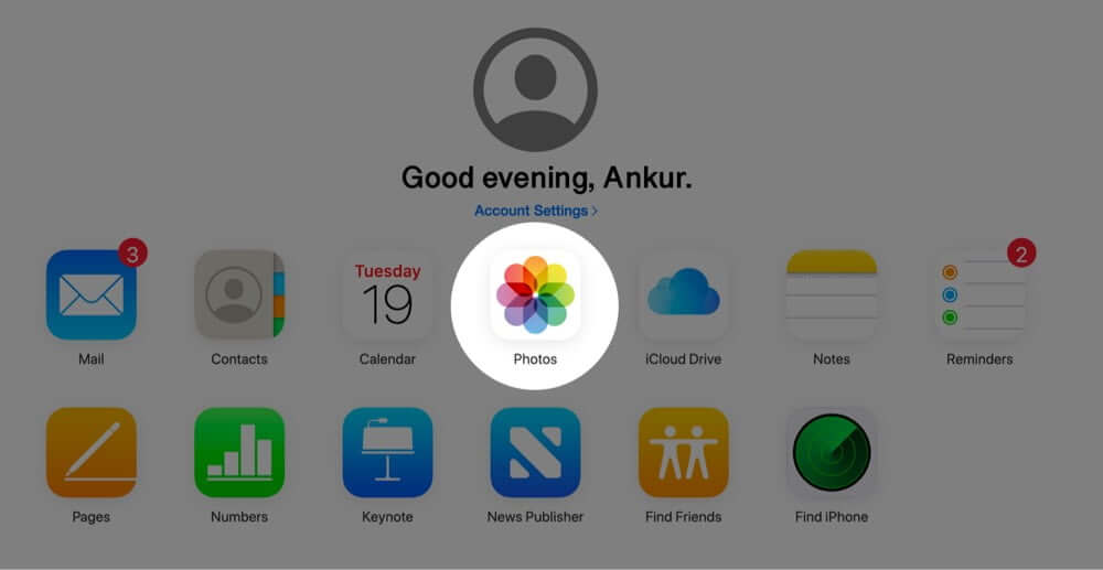 Click on Photos in iCloud