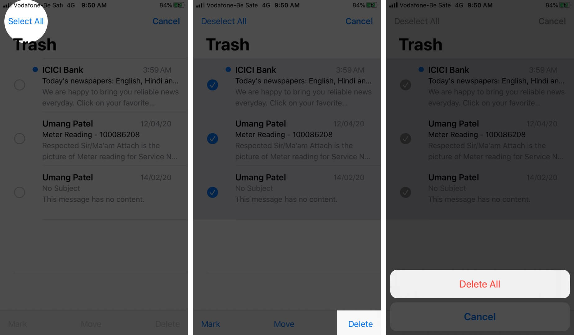 Delete All Emails from Trash in Mail App on iPhone