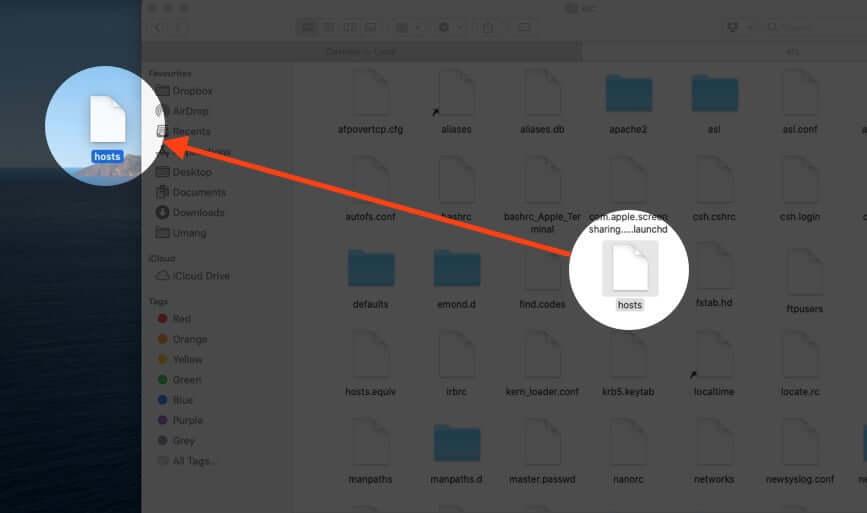 Drag Hosts File from Folder to Desktop on Mac