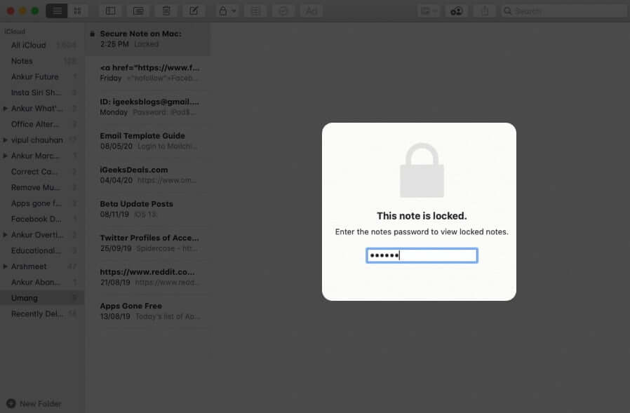 Enter Password to Open Locked Note on Mac