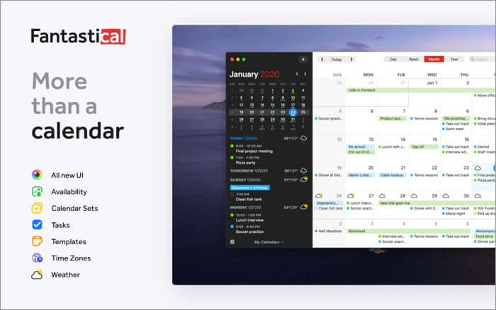 Fantastical Mac Calendar App Screenshot