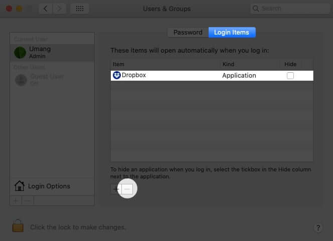 In Login items Tab Select App and Tap on Minus to Stop it from Opening at Startup on Mac