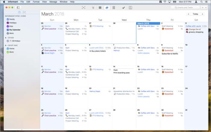 Informant Mac Calendar App Screenshot