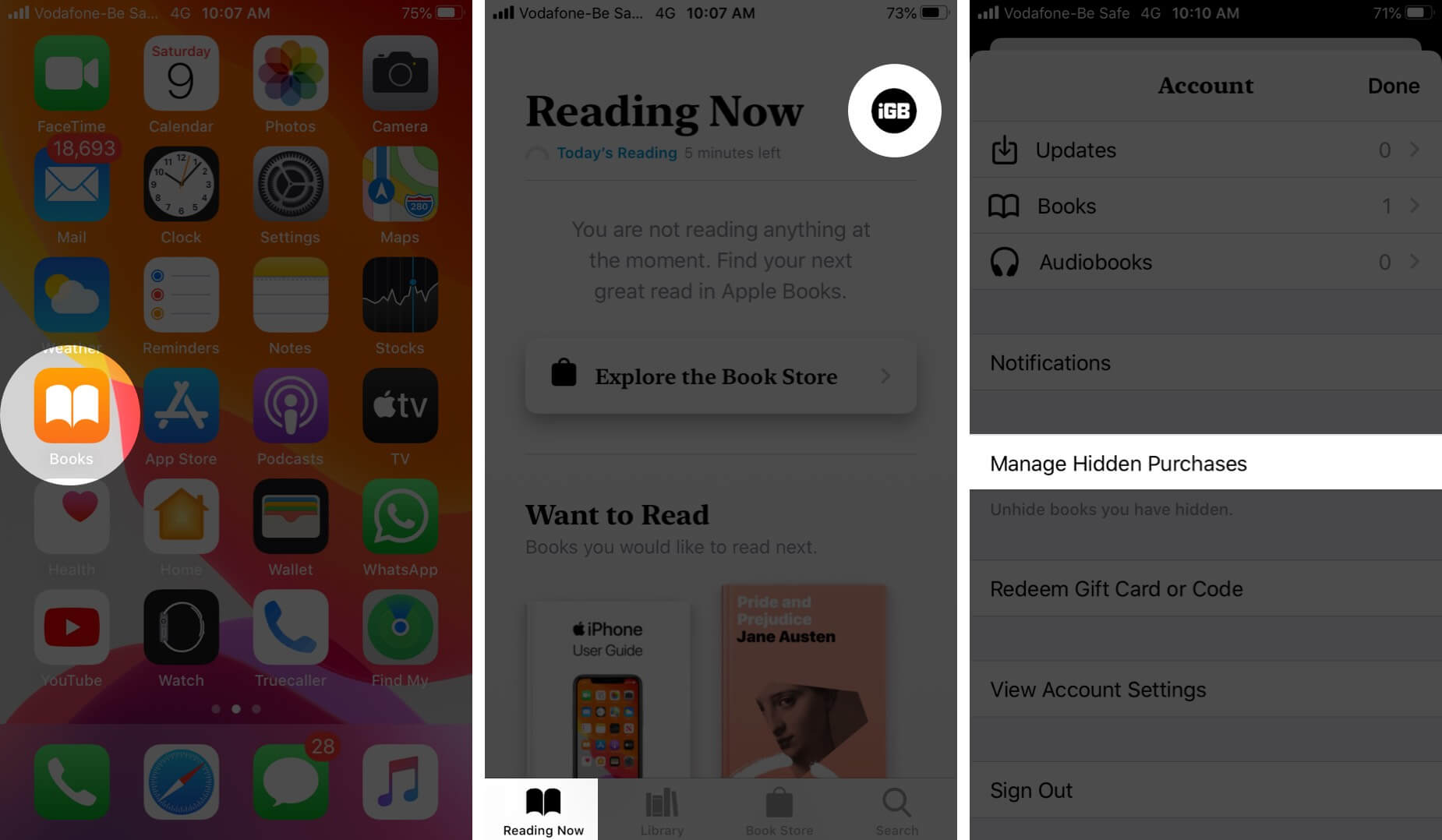 Open Books App Tap on Profile and Then Tap on Manage Hidden Purchases