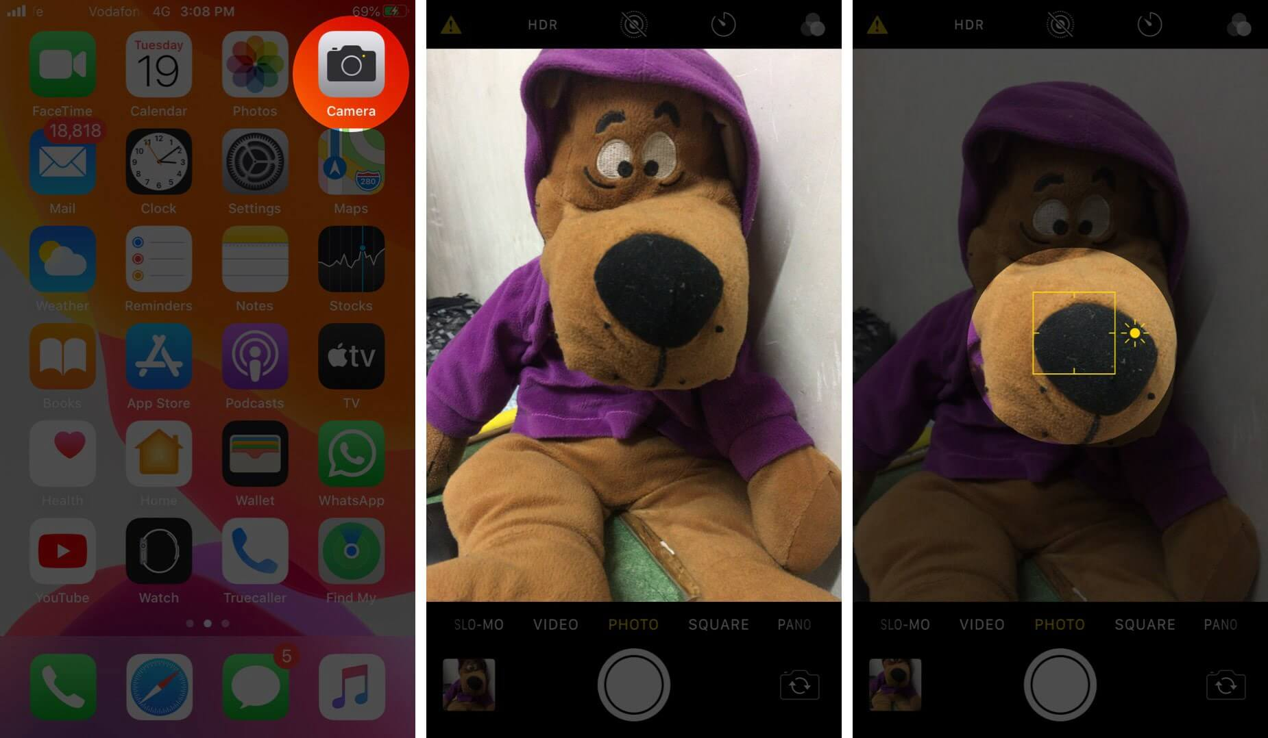 Open Camera App Touch and Hold on Object to View Brightness icon