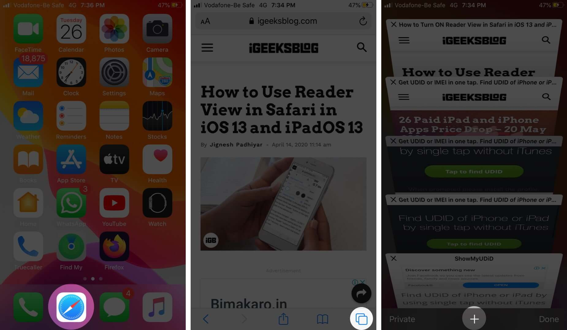 Open Safari Tap on Tab and Then Touch and Hold Plus icon