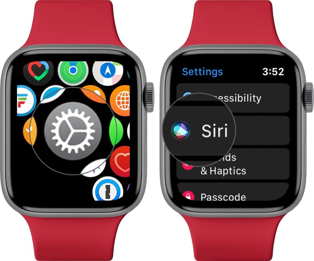 Open Settings and Tap on Siri on Apple Watch