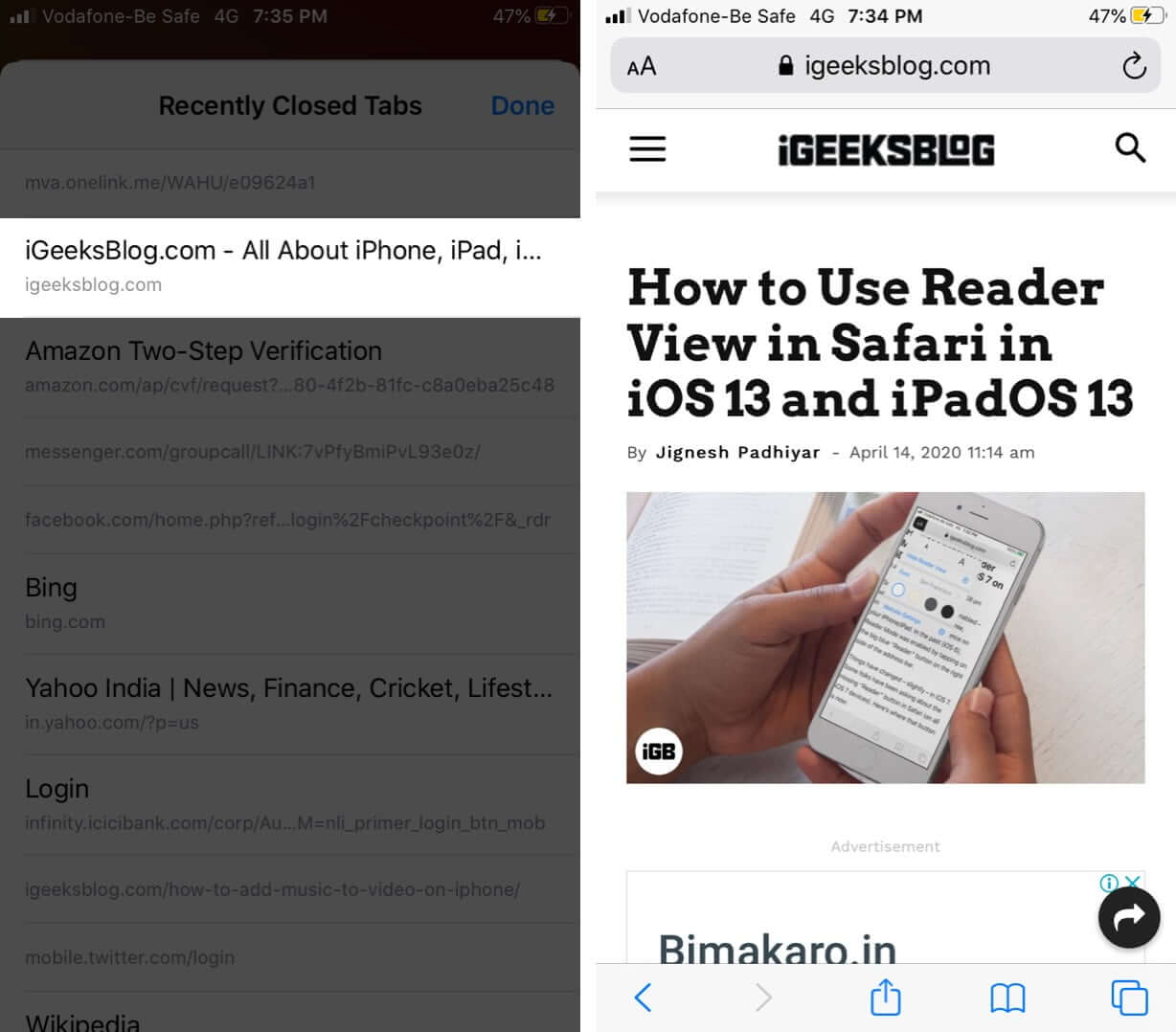 Reopen Recently Closed Safari Tabs on iPhone