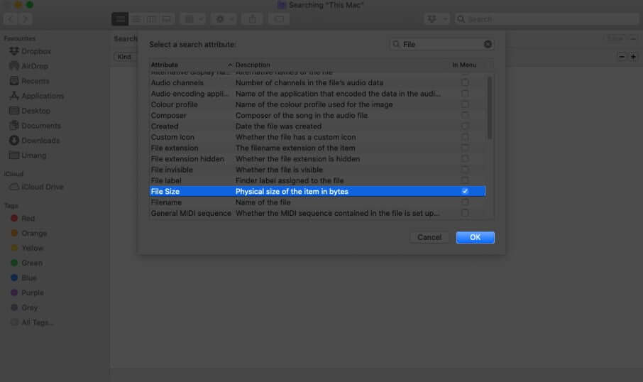 Select File Size and Click on OK in Finder on Mac