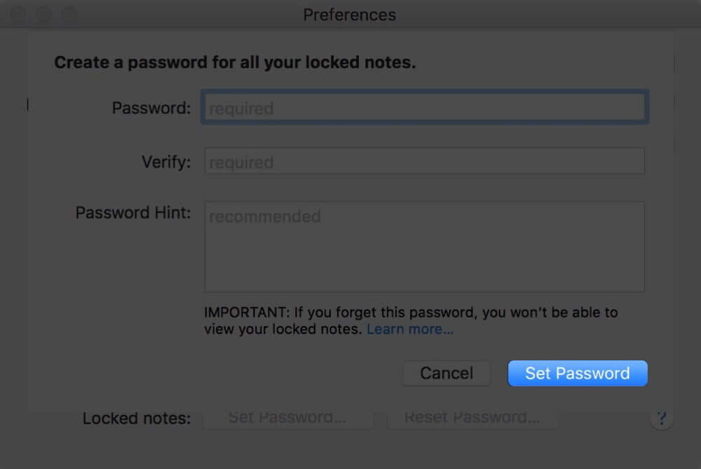 Set Notes Password on Mac