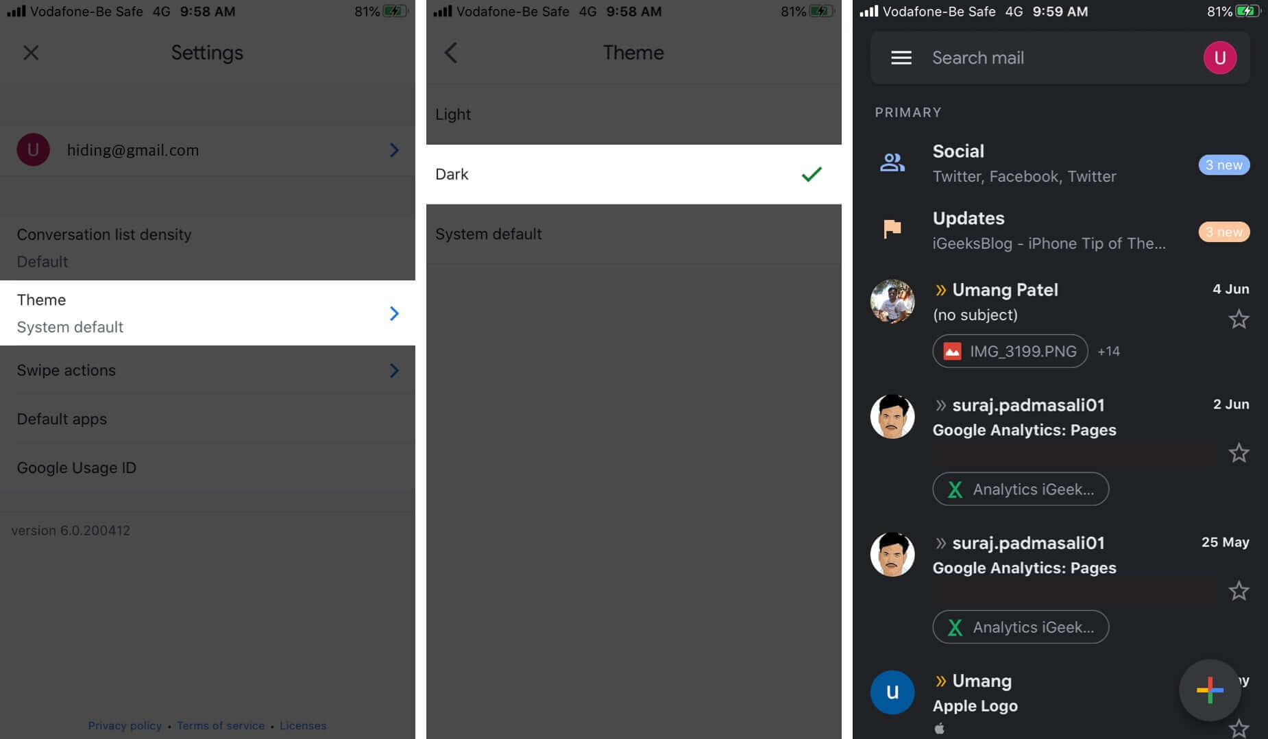 Turn ON Gmail Dark Mode on iPhone