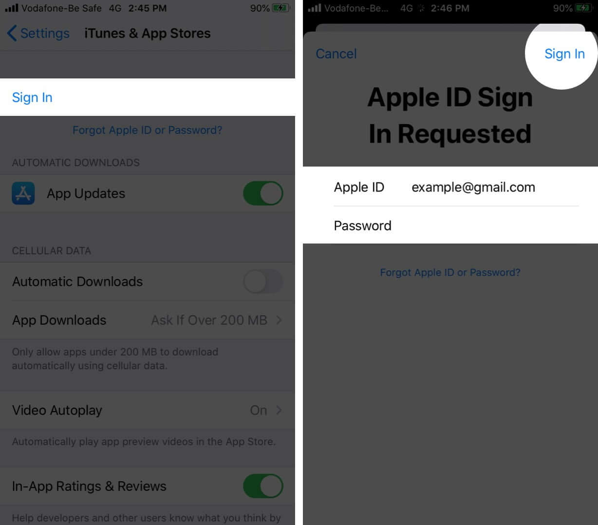Use Apple ID and Password to Sign in App Store on iPhone