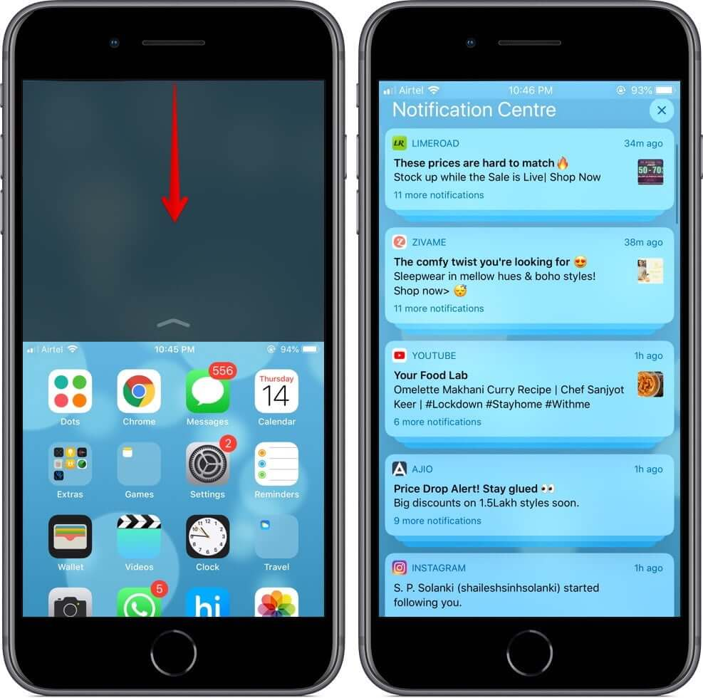 View Notifications while using Reachability on Touch ID iPhone