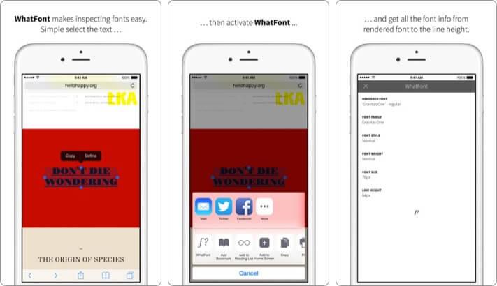 WhatFont iPhone and iPad App Screenshot