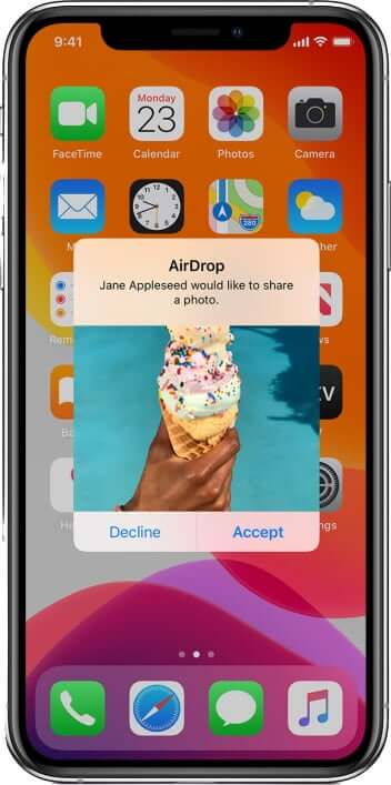 Accept Airdrop on iPhone