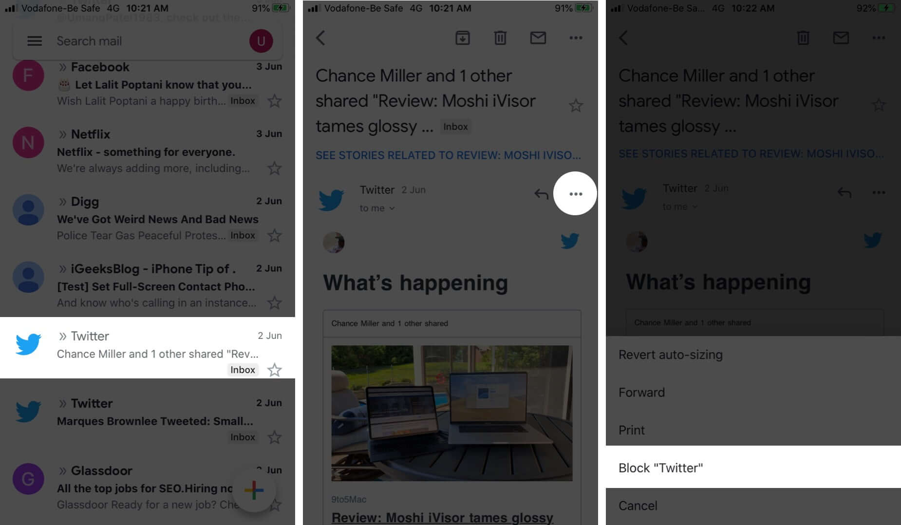 Block sender in the Gmail app on iPhone