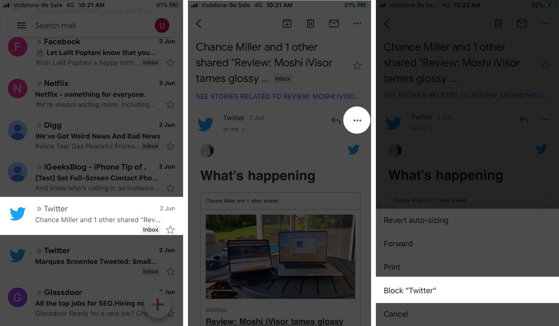 Block Sender in Gmail App on iPhone