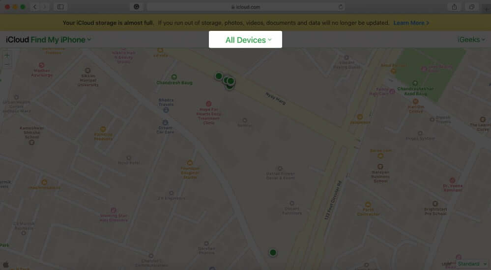 Click on All Devices in Find My iPhone in iCloud.com