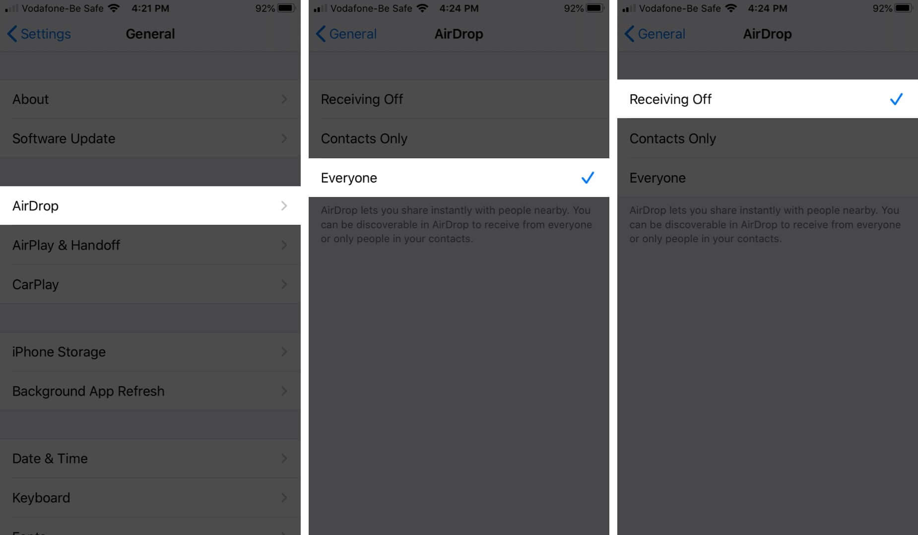 Disable AirDrop from iPhone Settings