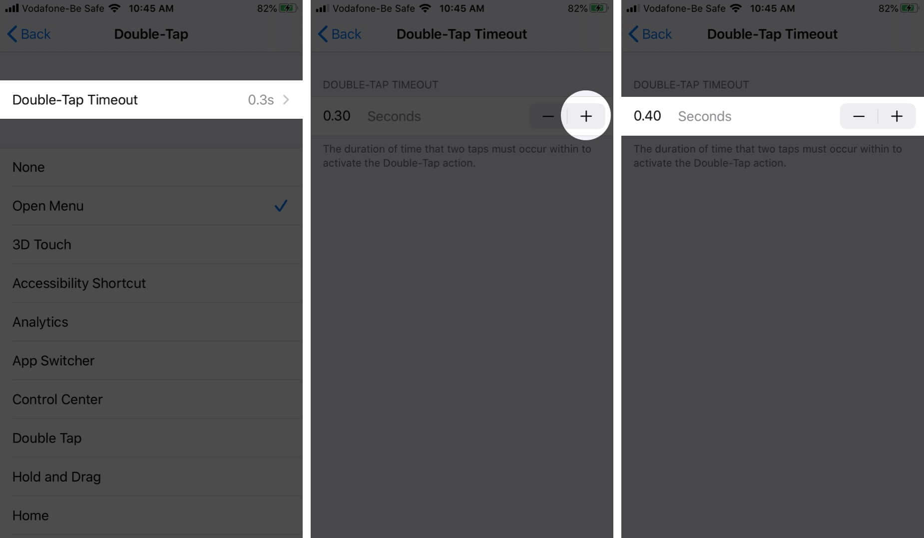 Edit Double-Tap Timeout in AssistiveTouch on iPhone